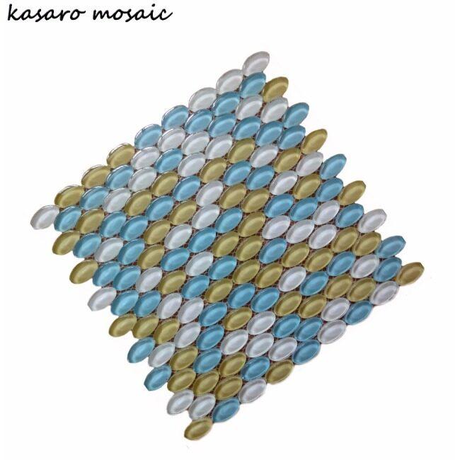 Glittering Crystal White Glass Free Mosaic Tile Pattern, Crystal Pebble Mosaic