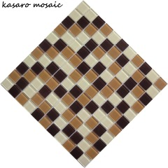 Whole Sale Mix Color Crystal Glass Mosaic Tile Mosaic Floor and Wall Tile Mounted On Mesh For Swimming Pool Tile Design