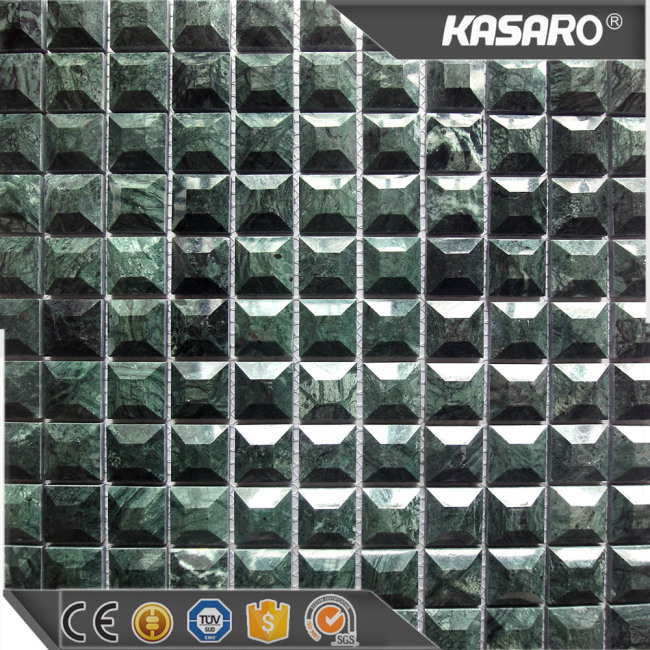 3D Irregular Green Marble Mosaic Tile