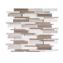 Wooden white Gray Mixed Stone Mosaic For  Backsplash