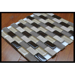 Decorative Thin Brick Tile Frosted Marble Glass mix Mosaic Tile Brick Pattern KY-ZR2013450