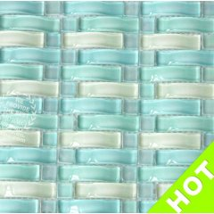 0.6 x 2.4 inch Baby Blue Curved Glass Mosaic Tile