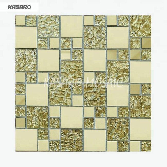 Gold Glass Mosaic Tile, Cheap  Mirror  Glass Mosaic