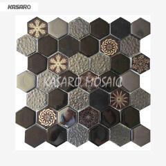 White Glass Mosaic Tile Bathroom Wall Mosaic Hexagonal Tile