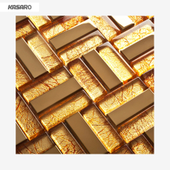 Hot Sale Wall Art Mesh Mouted Gold Foil Glass Mosaic
