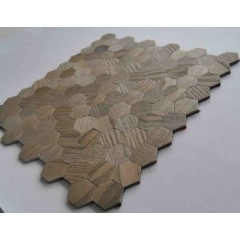 Wall Decorative Hexagon Peel and Stick Wall Tiles Wooden Surface Effect Aluminum Composite Panel