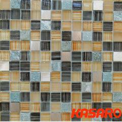 Wholesale Mosaic Decor Beautiful tiles Wall decorative Crystal Drawing Backsplash Glass mix Stone Mosaic Tile KGS-S3029