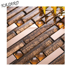 stainless steel blend glass mosaic tiles glass with stainless steel mosaic