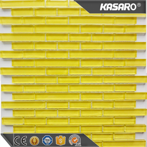 Yellow strip crystal mosaic home decor