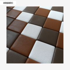 White Mix Leopard Leather Mosaic Tile, Leather Mosaic