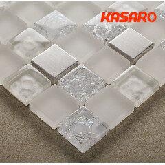 White Mix Yellow Backsplash Decorative Metal Mix Glass Mosaic Tile, Ice Crackle Glass Mosaic Tile