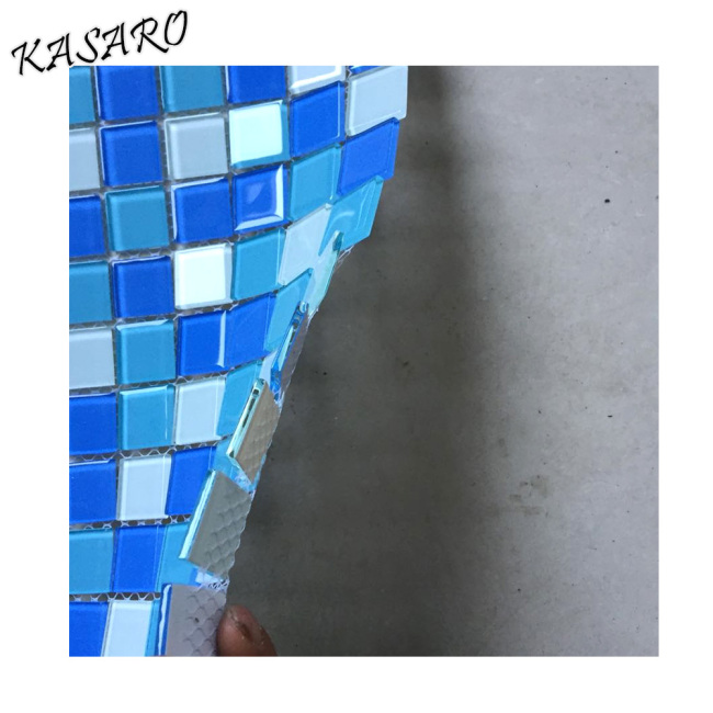 4mm thickness cheap price blues glass mosaic pool tiles