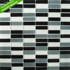 Strip Wall Floor Tile White And Black Mosaic Tiles(KN-13070102)
