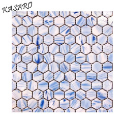 Green Color Hexagon Parquet Glass Mosaic Tile