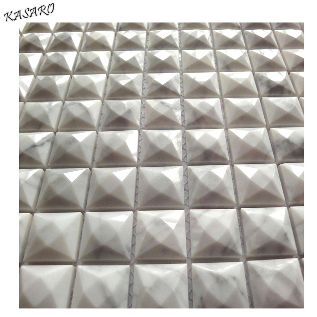 3d white family color and star shape mosaic style marble tile