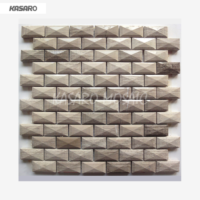 Wooden Grey Marble Mosaic Tile For Wall Decoration Home Decor