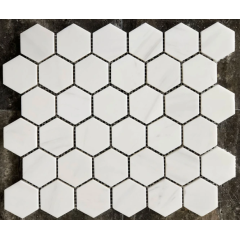 White marble mosaic Carra Carter Gold colored hexagon mosaic tile