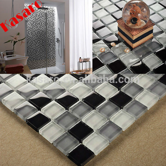 China Alibaba Supplier Black and White Swimming Pool Glass Mosaic Tile, Decorative Bathroom Tile