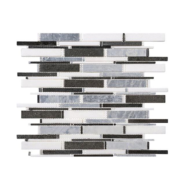 White+Basalt mix Stone Mosaic For  Backsplash