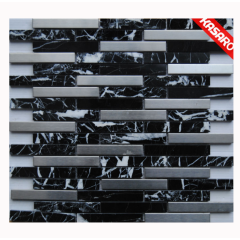 Stainless Steel Mix Marble Mosaic Tile,Stone Metal Mix Mosaic Tile,Black And White Marble Mosaic Floor Tile