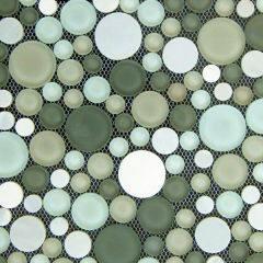 Round Mosaic Tile, Round Mosaic, Green Mosaic Tile