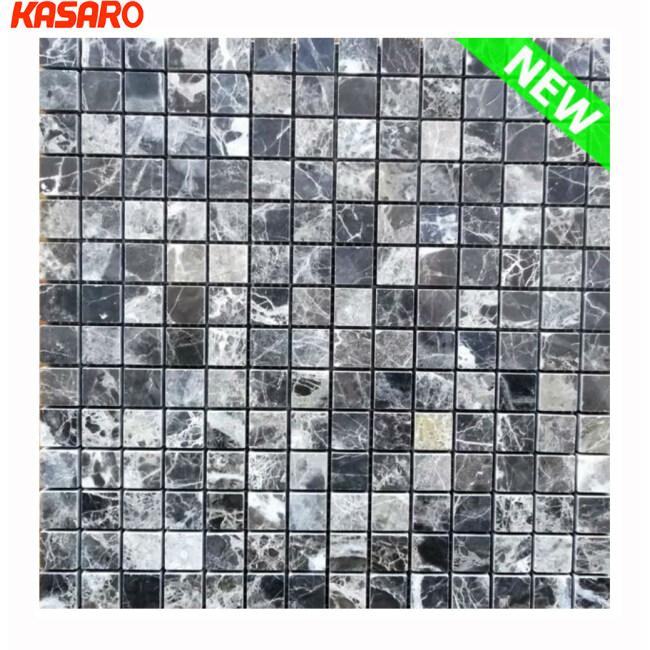 Dark Marble Mosaic Tile, Stone Mosaic, Stone Mosaic Tile With Mesh Back