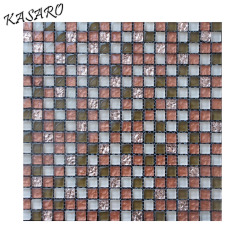 Mixed Color Family and Parquet Feature 15x15 glass tile mosaic