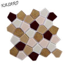 Pentagon Crystal Glass Mosaic, Modern Kitchen Design, 300x300mm Tile