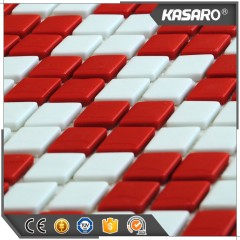 Rhombus Mosaic Tiles,White And Red Glass Mosaic Tile,Glass Mosaic Tile For Bathroom