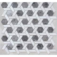 Custom carrara white white marble small hexagonal mosaic tile, white matte hexagon mosaic tile