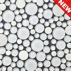 White Marble Circle Mosaic, White Mosaic, Circle Mosaic