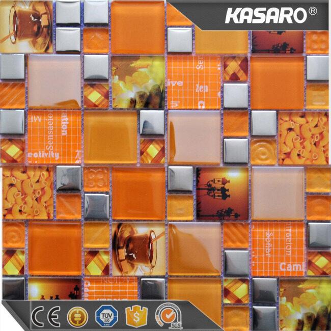 Bathroom wall tile stickers orange square glass mosaic