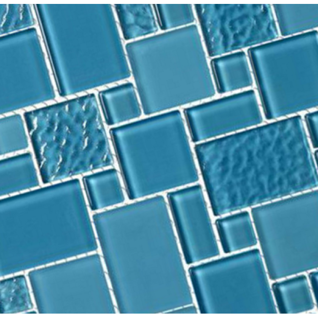 Subway blue linear glass mosaic tile for swimming pool tile for sale