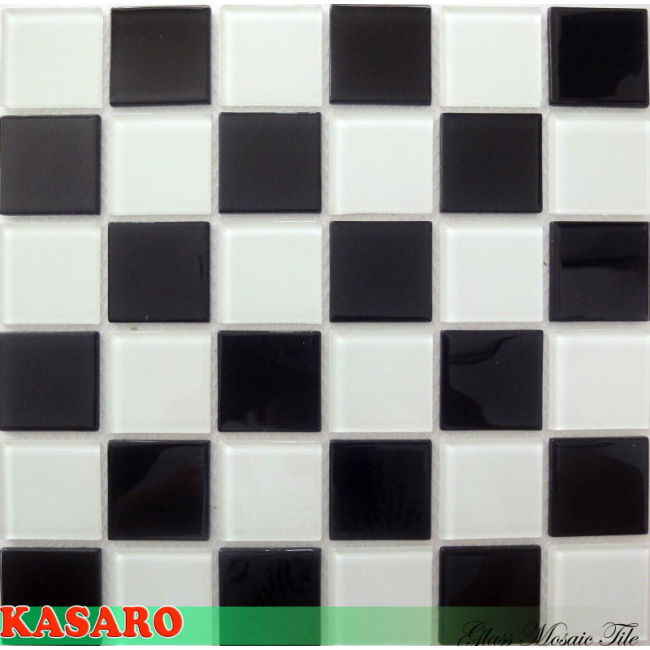 Black and White Mosaic Glass Tile Kitchen Tile Wallpaper Tile Mosaic (KSL135036)