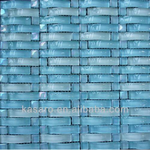 Wholesale Mosaic Tile , Glass Mosaic Tile Sheet , Blue Wave Glass Tile