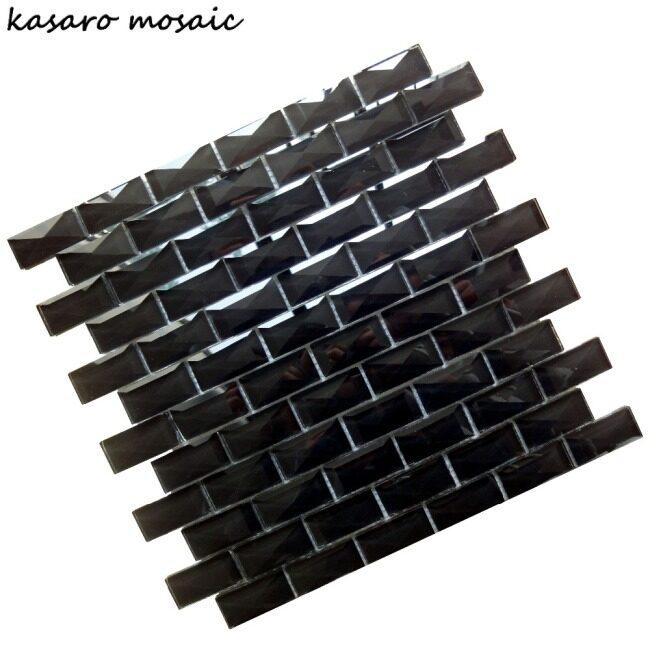 3D Glass Tile, Beveled Glass Mosaic Tile, Black Glass Mosaic (KSL-SM1317)