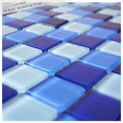 Hot Sale Blended Blues Glass Mosaic for Swimming Pool Tile Blue Decorative Tile