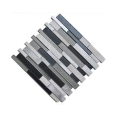Urban Interlocking 12 in. x 12 in. x 4 mm Glass Stone Metal Mesh-Mounted Mosaic Tile