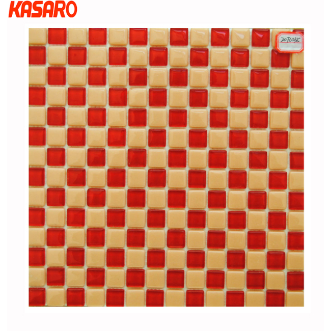 2014 New trend red mix yellow glass mosaic tiles, China glass mosaic tile, decorative glass tiles for living room KG-S3038