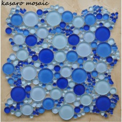 2018 Hot Sales Round Blue Glass Mosaic Wall Tile