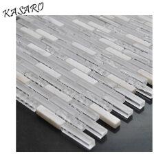 White stone glass mosaic kitchen backsplash tiles