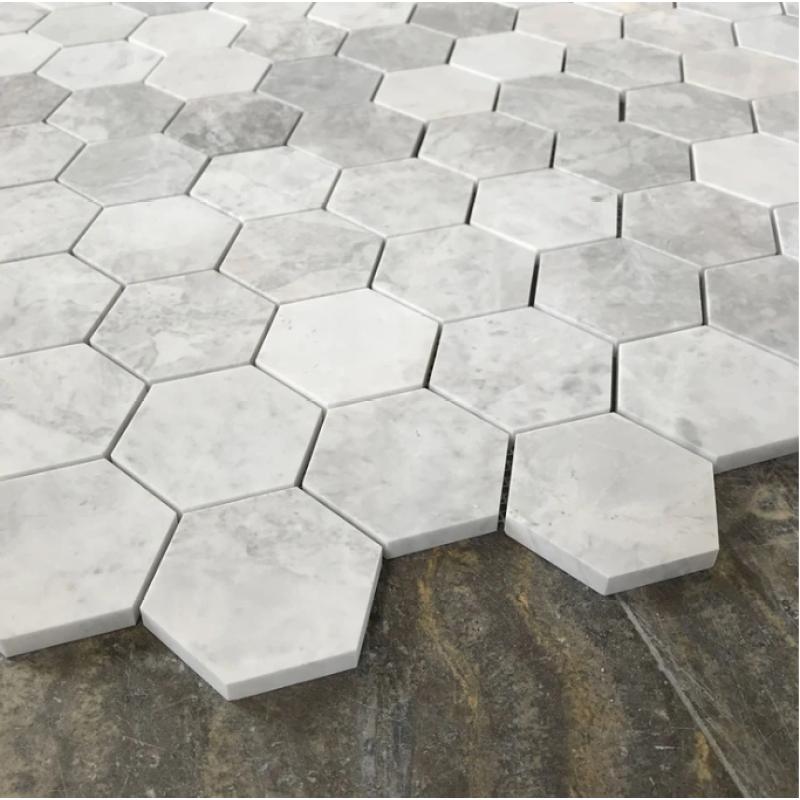 Custom Polished Carrara Marble Hexagon Mosaic Tile