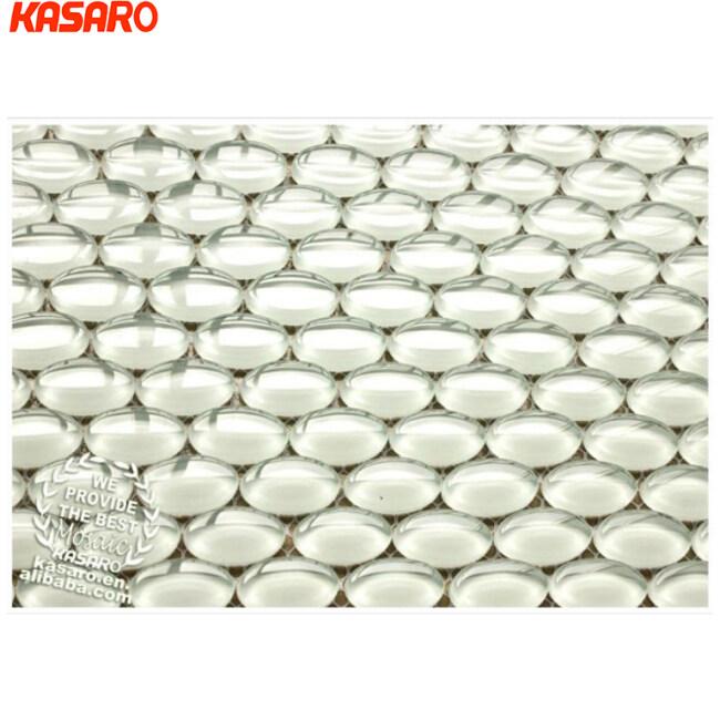 Hot Sale White Shinning Glass Pebble Mosaic Tile, Crystal Pebble Mosaic