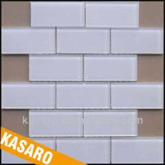 White Glass Mosaic Tile, Glass Tile Mosaic Rectangle, Tiles Mosaic Glass (KSL-201305)