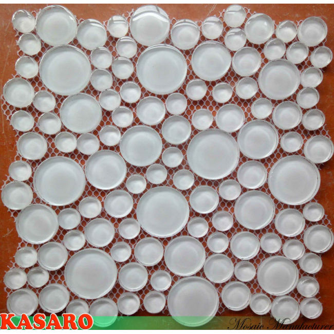 Flat Clear Glass Mosaic Tile Circles (KSL112010)