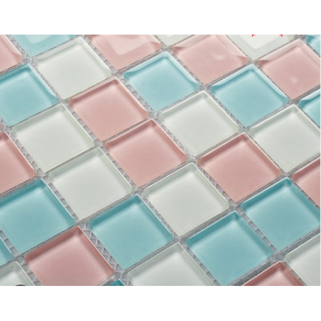 Pink Mosaic Color Tile Crystal Glass Bathroom Wall Stickers