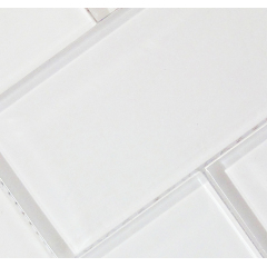Pure White Glass Material Subway Kitchen Backsplash Tiles Glass Mosaic Brick Subway Bathroom Glass Wall Tile Design