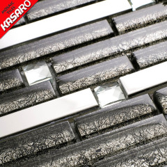 Stainless Steel Mix Glass Tile Mosaic, Strip Glass With Metal Mosaic Backsplash Decoration