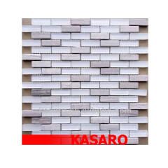 White Glass Mosaic Tile, Glass and Stone Mosaic, Kitchen Mosaic Tiles (KSL-201380)
