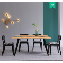 Small Size Light Luxury Solid Wood Dining Table  Dining Table Epoxy River Computer Desk